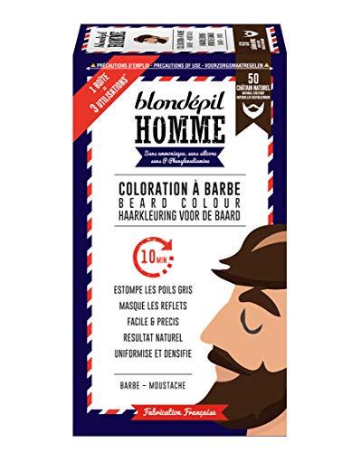 Blondépil Homme Coloration A Barbe Châtain Naturel Barbe/Moustache Kit 3 Utilisations