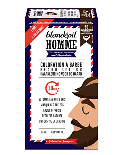 Blondépil Homme Coloration A Barbe Châtain Naturel Barbe/Moustache Kit 3 Utilisations Lot de 2