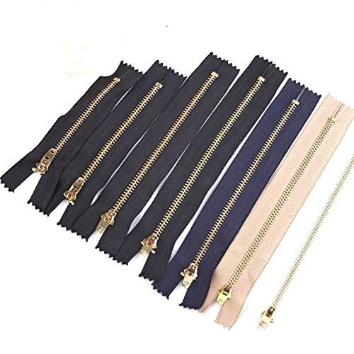 Zyilei-remplazo Cremallera 10pcs 8-25cm Metal Cremallera, Herramientas de Bricolaje Zipper DIY Ropa de Costura, Accesorios de Prendas Jeans Cremalleras, Amplia Gama de Aplicaciones