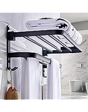 ZYDJ Handdoekenrek, boren niet nodig, vrijstaand wandmontage, mat zwart badhanddoekenrek met dubbele handdoekenhouders voor wandmontage