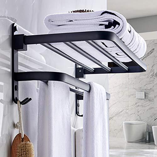 ZYDJ Handdoekenrek zonder boren muur gemonteerd Vrijstaand, wandmontage mat zwart bad handdoek rek met dubbele handdoekrekken