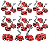 Firetruck Pullback Toy 24 Pieces Firefighters Party Favors for Kids, Mini 2 inch Pull Back Cars, Birthday and Carnival Prizes, Engine Vehicles Toys for Children, By 4E's Novelty