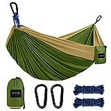 Kootek Camping Hammock Double & Single Portable Hammocks with 2 Hanging Ropes, Lightweight Nylon Parachute Hammocks for Backpacking, Travel, Beach, Backyard, Hiking