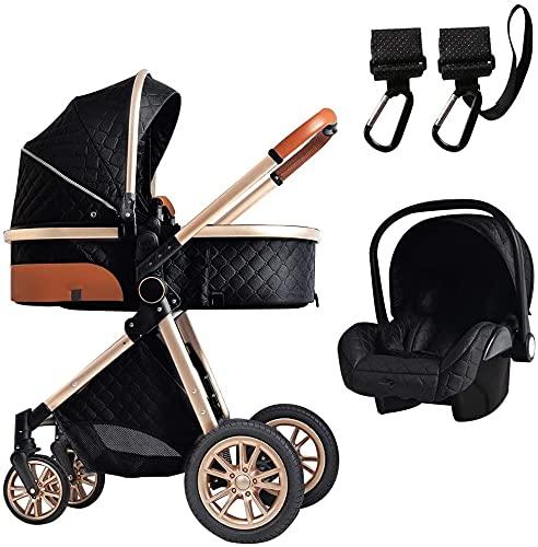 LAMTON Cochecito de bebé 3 en 1, carro de bebé antigolpes, carro de bebé de aluminio, cochecitos compactos convertibles, con bolsa de mamá y gancho para cochecito (color negro)