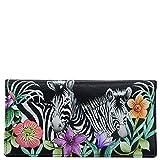 Anuschka Women's Genuine Leather Checkbook Cover - Hand Painted Original Artwork - Playful Zebras