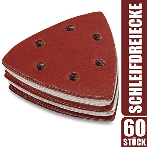 60 x Deltaschleifer Dreieck Schleifpapier 93x93x93mm - Klett Schleifdreiecke für Dreieckschleifer 40-240 Körnung
