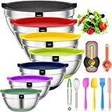 Mixing Bowls with Airtight Lids, 20 piece Stainless Steel Metal Nesting Bowls, AIKKIL Non-Slip...