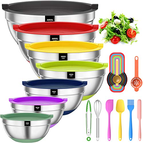 Mixing Bowls with Airtight Lids, 20 piece Stainless Steel Metal Nesting Bowls, AIKKIL Non-Slip Colorful Silicone Bottom, Size 7, 3.5, 2.5, 2.0,1.5, 1,0.67QT, Great for Mixing, Baking, Serving