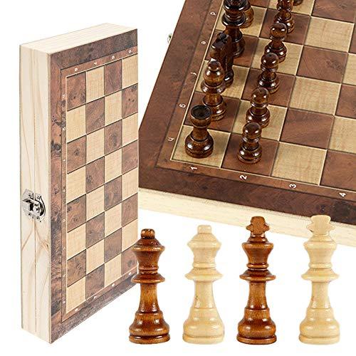 JTWEB Schachspiel Schach Schachbrett Holz,Klappbar Reiseschach Schachbrett für Familie Geschenk Reisen ür Kinder und Erwachsene 29 x 29 cm