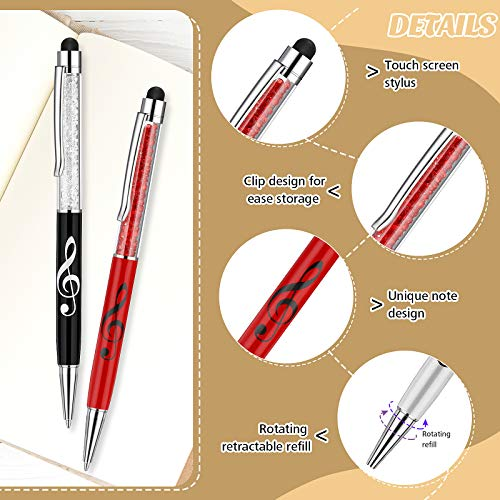 Bling Crystal Stylus Pen Diamond Capacitive Stylus and Black Ink Writing Pen 2 In 1 Retractable Touch Screen Pens Music Note Ballpoint Pen for Touch Screens Device (4 Pieces) Photo #4