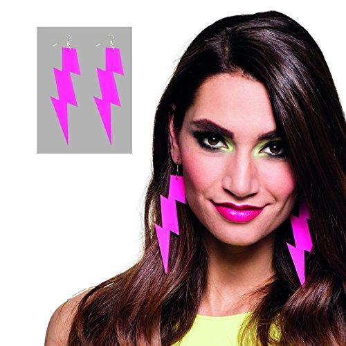 NET TOYS Neon Blitz Ohrringe 80er Jahre Damen Schmuck pink Creolen Modeschmuck Mode Ohrstecker