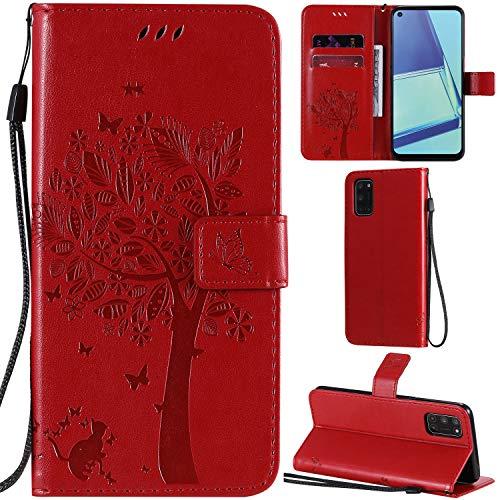 DodoBuy Oppo A52/A72/A92 Coque Motif Arbre Chat PU Cuir Flip Housse Étui Cover Case Wallet Portefeuille Support avec Porte-Cartes pour Oppo A52/A72/A92 - Rouge