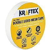 Kraftex – Bande Maillée Adhésive Double Face Pour Surfaces Multiples - Fixation Ultra-Forte Sur N'importe Quel Sol |Pierre, Mélaminé, Carrelage | Rouleau De 18m
