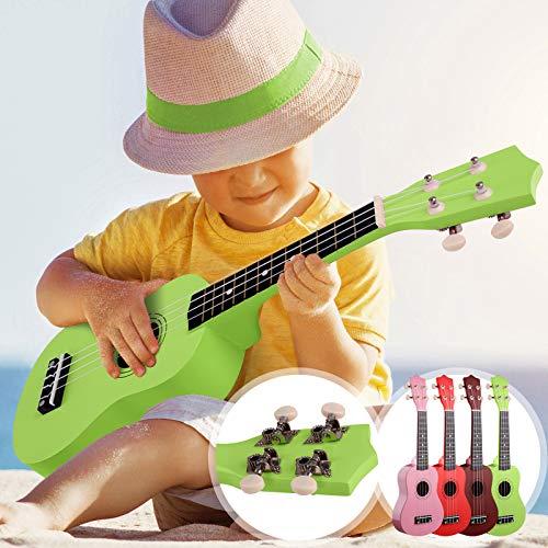 Sopran Ukulele - 21 Zoll, 4 Nylon Saiten, Korpus aus Lindenholz, inkl. Plektren, Farbwahl - Sopranukulele, Ukele, Hawaii Gitarre für Anfänger, Kinder & Erwachsene (Grün)