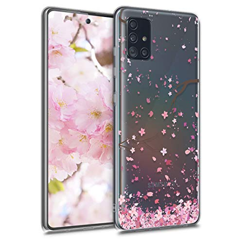 kwmobile Hülle kompatibel mit Samsung Galaxy A51 - Hülle Handy - Handyhülle - Kirschblütenblätter Rosa Dunkelbraun Transparent
