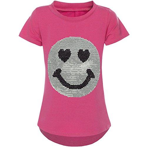 BEZLIT Kurzarm Mädchen T-Shirt Wende-Pailletten Motiv Glitzer Bluse 21287 Pink Größe 164