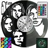 Grupo de música del año RGB LED Pilot reloj de pared para mando a distancia disco de vinilo moderno decorativo para regalo de cumpleaños