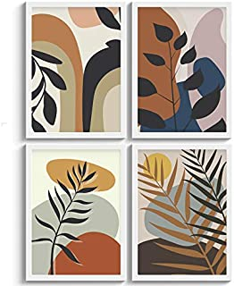 SC CREATIVES Set of 4 Botanical Tropical Leaves Framed Art Prints Painting with Plexi Glass 12 x 9 Inches Wall Art Gift Po...