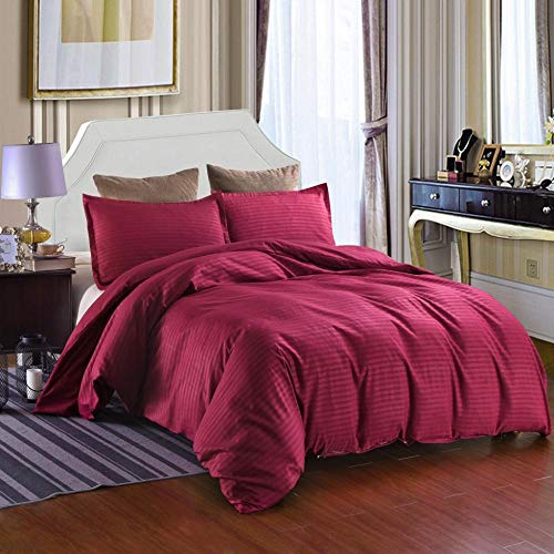 DYWLQ Duvet Cover Quilt Bedding Set With Pillowcase,Pure color satin strip bedding, hotels, hotels, schools-05_EU_Double