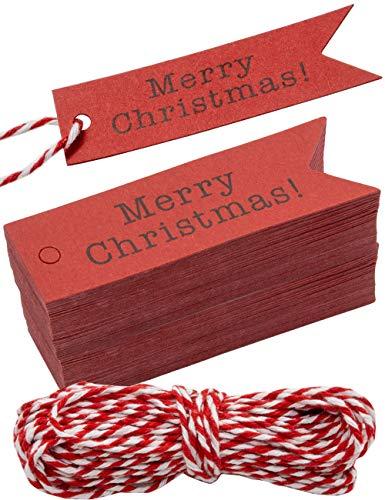 HOMETOOLS.EU® - 100 Kraftpapier, Karton, Geschenk-Anhänger, Papier-Anhänger, Tags, Label, 7 x 2 cm, mit 10m Schnur, zum Geschenk verpacken - Merry Christmas - rot