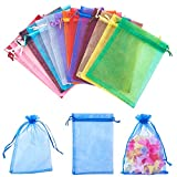 PandaHall Elite & reg 10pcs / Color, 150pcs / Set Bolsas de Organza, con Cintas, rectángulo, Color Mezclado, 18x13cm