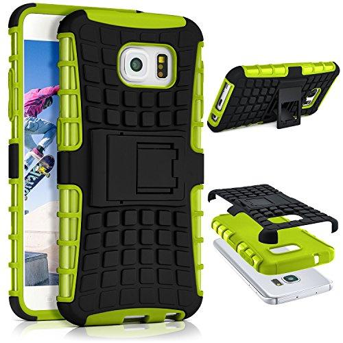 ONEFLOW® Tank Case Samsung Galaxy S6 Outdoor Hülle | Panzer Handyhülle mit Ständer - 360 Grad Handy Schutz aus Silikon & Kunststoff, Grün