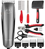Dog Clippers,Dog Grooming Kit 36V Powerful Motor Low Noise Professional Electric Pets Hair Trimmers Shaver Shears with 4 Comb Guides, Scissors, Nail Clippers for Dogs and Cats