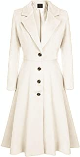 Women's Single-Breasted Trench Coat Suit Collar A-line Flare Hem Wool Blended Dress Blazer Coats