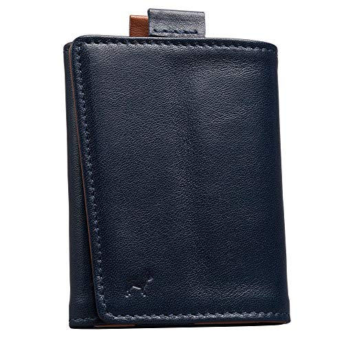 The Frenchie Co. Mini Speed Wallet   Ultra Navy + Tan   The Original Speed Wallet for Men with RFID Blocking and Super Fast Card Holder Access   Italian Leather Ultra Slim