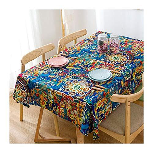 Qiao jin Tischdecke Tischdecke rechteckig ethnische Art Blau Impression Tischdecke Esstisch Couchtisch Tischdecke Tischdecken (Size : 110 * 170cm)