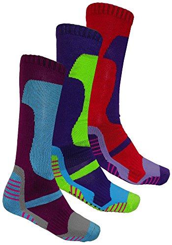 3x pares calcetines de invierno térmico largo suave acolchado de esquí senderismo ciclismo nuevo 3 Pack (Womens PCK2)