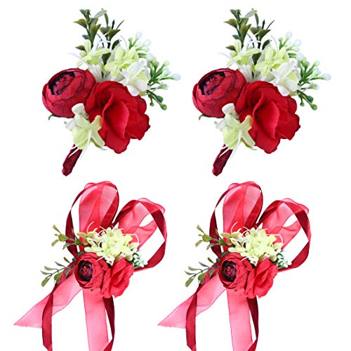 Anna Homey Decor Corsage and Boutonniere Red Color Wedding Bouquets and Boutonnieres Sets Rose Flower Artificial Plant Prom Church Corsage Groom Best Man Flowers with Ribbon Bracelet, Set of 4