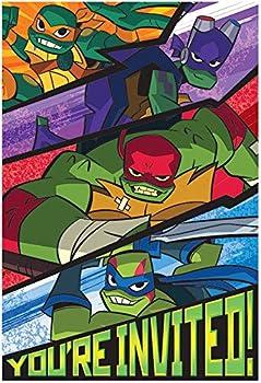 amscan Teenage Mutant Ninja Turtle Printed Invitations - 8pc Multi-colored One Size