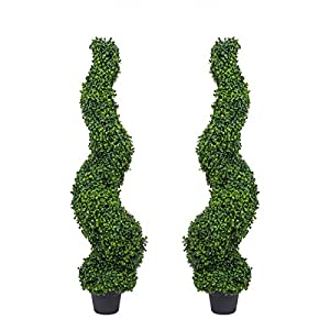 Azoco Spiral Boxwood Topiary Trees Artificial Potted Plants for Home Office Front Porch Indoor Outdoor Decor Set of 2