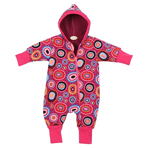 """Lilakind"""" Baby Overall Einteiler mit Kapuze Softshell Rosa Pink Bunte Kreise Gr. 80/86 - Made in Germany"""