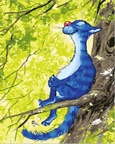 xdai Puzzle 1000 Teile Weihnachten -Puzzle fur Erwachsene -Puzzle ab 8 Jahre für Jungen -Puzzleunterlage -3D Puzzle Kinder Blaue Katze auf Baum -50x75cm