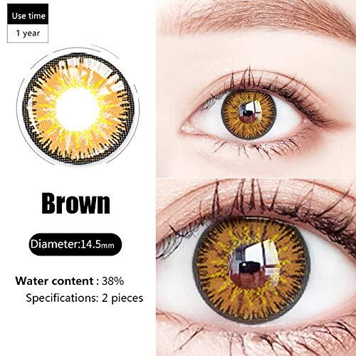YRUFE Farbige Kontaktlinsen, Beauty-Kontakt mit großem Durchmesser, feuchter und komfortabler Augenfarbwechsler, Augen-Make-up-Zubehör für Cosplay/Halloween (Braun)