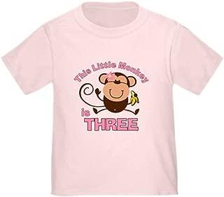 Little Monkey 3rd Birthday Girl Toddler Tshirt