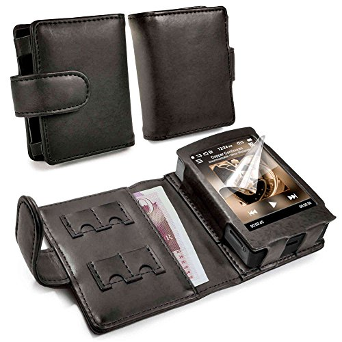 TUFF LUV Genuine Western Leather Case Cover for Cowon Plenue D / D2 (2nd Gen) - MP3 - Black