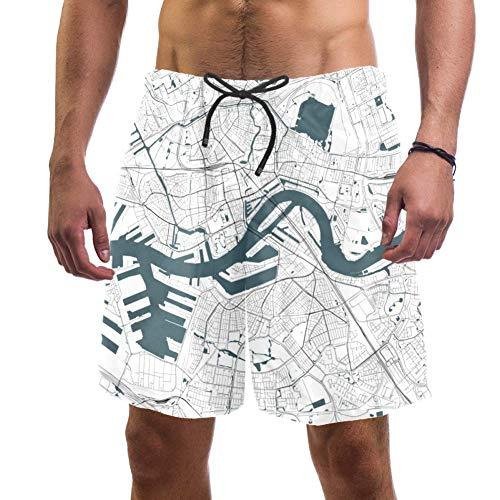LORVIES - Bañador para hombre, diseño de mapa de Rotterdam del Sur de Holanda Países Bajos, secado rápido, talla L multicolor S
