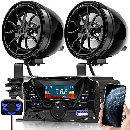GoHawk TS3 Gen.3 Motorcycle Weatherproof Bluetooth Speakers 7/8-1.25 in. Handlebar Mount MP3 Music Player Sound Audio Stereo Amplifier System ATV UTV w/AUX, USB, Micro SD, FM Radio, 2-Speaker
