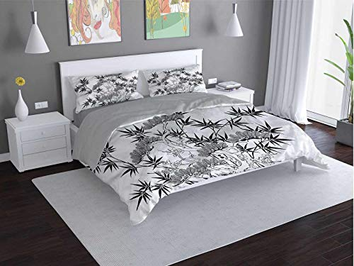 Toopeek Floral Quilt cover 3-piece set Tree-and-Branch-with-Leaves Super soft and easy to maintain (King)