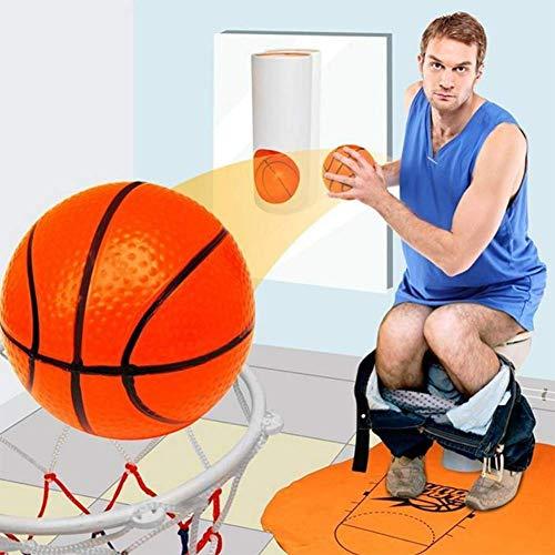 ALWWL Toiletten Basketball Set, Basketballkorb Toilette, Basketball für die Toilette, mit 3 Bällen, Basketballkorb und 1 Matte, Fun-Spiel, Witziges Spiel für Klo