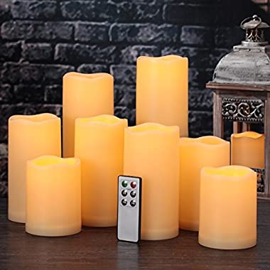 comenzar Flameless Candles, Battery Candles Set of 9(H 4  5  6  x D 3 ) Waterproof Outdoor Indoor Led Candles with Remote Timer (Amber yellow)