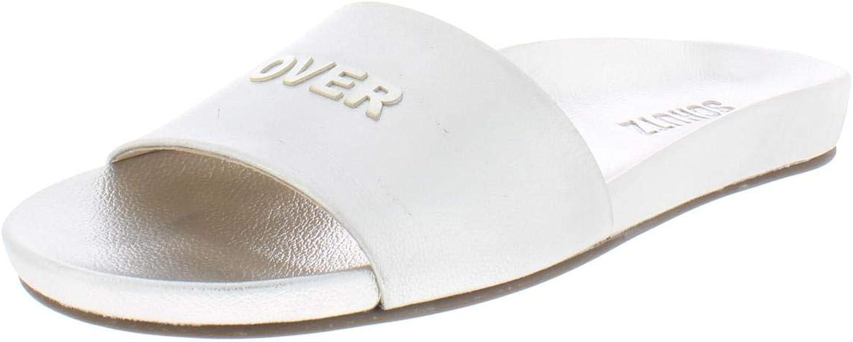 Schutz Womens Game Over Crackled Slide Sandals