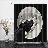 SUHETI Duschvorhang 180x180cm,Nutztiere Eine Schwarz Weiß Kuh stöhnt am Mond,Duschvorhang Wasserabweisend-Duschvorhangringen 12 Shower Curtain mit