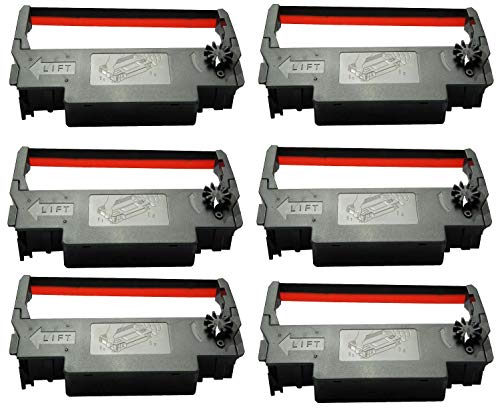 ERC 30 / 34 / 38 Ink Ribbon Cartridge Black and Red Compatible Epson TM 200, TMU 220, TMU230 Printers (6 Pack)