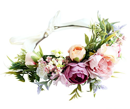 Floral Headband Garland Floral Crown Flower Halo Floral Headpiece Hair Wreath Boho with Ribbon Wedding Festival Party Photos Pink, One Size