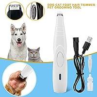 ペット犬猫ネイルヘアトリマーグラインダーグルーミングツール電気剪断カッター機USB充電ペットヘアカット足シェーバークリッパー-ホワイト-標準
