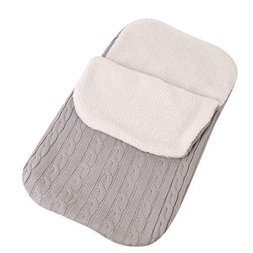IEUUMLER Baby Neugeborene Gestrickt Wickeln Swaddle Decke Schlafsack für Kinderwagen, Buggy, Babytrage IE051 (Light Grey)